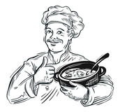 Hand-drawn chef with a pot in his hand. vector Stock Photo