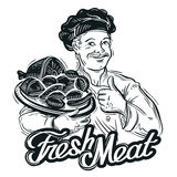 Hand-drawn chef with a tray of fresh meat  Royalty Free Stock Photos