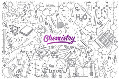 Hand drawn Chemistry doodle set with lettering. Hand drawn Chemistry doodle set background with purple lettering in vector Stock Image