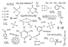 Hand drawn chemistry formulas Science knowledge education Royalty Free Stock Photos