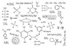 Hand drawn chemistry formulas Science knowledge education Stock Photo