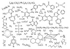 Hand drawn chemistry formulas Science knowledge education Stock Images