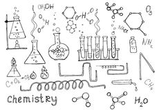 Hand drawn chemistry set. Chemistry set, hand drawn vector illustration. Education icons Stock Photography