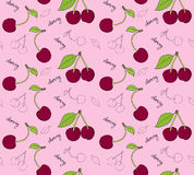 Hand drawn cherries seamless pattern. Vector illustration vector illustration