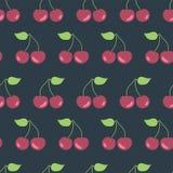 Cherries seamless vector pattern background black royalty free illustration