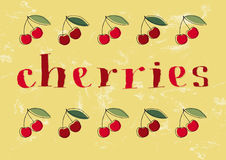Hand-drawn cherries text and illustrations stock photo