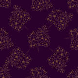 Hand drawn cherry blossom brunches seamless pattern. Sakura bloo Stock Photography