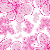 Hand Drawn Cherry Blossoms seamless background. Stock Photos