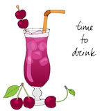 Hand drawn cherry cocktail with ice, straw and cherries. Hand drawn cherry cocktail with ice, straw and cherries on white background. Vector illustration stock illustration