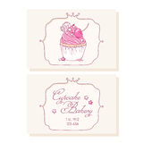 Hand drawn cherry cupcake business cards template Royalty Free Stock Photography