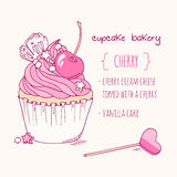 Hand drawn cherry cupcake Royalty Free Stock Image