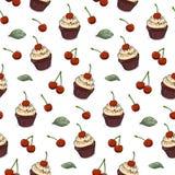 Vector seamless pattern hand drawn cherry cupcake stock illustration