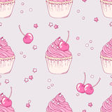 Hand drawn cherry cupcake seamless pattern Stock Image