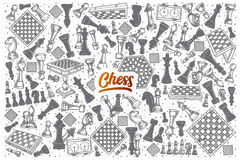 Hand drawn Chess doodle set with lettering Stock Images