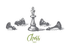 Hand drawn chess figures with king in center. Vector hand drawn concept sketch of whipped chessmen and standing King in center with lettering Stock Photo