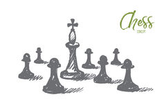 Hand drawn chess king between pawns with lettering. Vector hand drawn chess concept sketch. Chess king between many pawns on chessboard. Lettering Chess concept Royalty Free Stock Photo