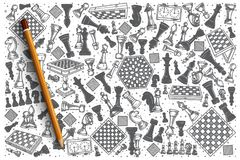 Hand drawn Chess vector doodle set. Background vector illustration