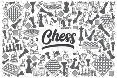 Hand drawn chess vector doodle set. Hand drawn chess doodle set. Lettering - Chess Royalty Free Stock Image