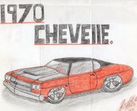 Hand drawn 1970 chevelle. In color pencil. Art drawn by a auto mechanic. Wile serving time for a mistake he made just something you can do when you have time on Royalty Free Stock Image