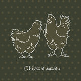 Hand drawn chicken pair Royalty Free Stock Photo