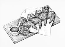 Free Hand Drawn Chicken Wings On Plater Stock Photos - 114464513