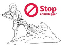 Hand drawn Child lake a freedom they need education,red symbol stop child beggar. Hand drawn Child lake a freedom they need education,red symbol stop child Stock Photos