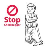Hand drawn Child lake a freedom they need education,red symbol stop child beggar. Vector,sad child beggar vector Royalty Free Stock Photo