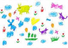 Hand drawn childish object set. childs drawing Royalty Free Stock Images