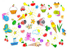 Hand drawn childish object set. childs drawing Stock Photography