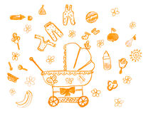 Hand drawn childish object set. childs drawing Royalty Free Stock Image