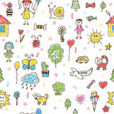 Hand drawn children drawings color seamless pattern. Doodle chil Royalty Free Stock Images