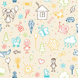 Hand drawn children drawings seamless pattern. Doodle children d Royalty Free Stock Photo