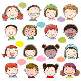 Hand Drawn Children Faces Set Royalty Free Stock Photos