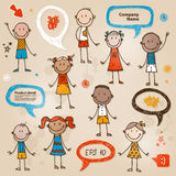 Hand-drawn children speech bubbles set Stock Image
