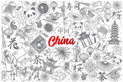 Hand drawn China doodle set with lettering royalty free illustration
