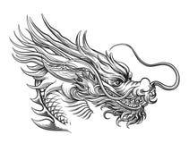 Hand drawn chinese dragon head vector illustration