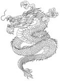 Hand drawn Chinese dragon tattoo design Stock Images