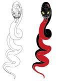 Hand drawn Chinese snake tattoo design. Hand drawn and doodle Japanese snake tattoo on white background Stock Photos