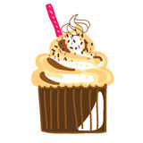 Hand-drawn chocolate cream cup cake Stock Photography