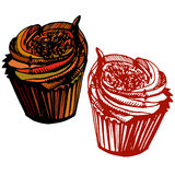 Hand drawn chocolate cupcake. Stock Image