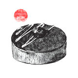 Hand drawn chocolate pastry. Hand drawn black and white  chocolate pastry Royalty Free Stock Photography