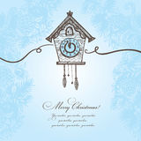 Hand drawn Christmas background. With cuckoo-clock Stock Images