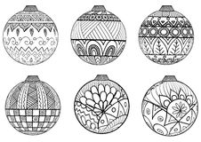 Hand Drawn Christmas Balls Zentangle Style For Coloring Book. Stock Photography