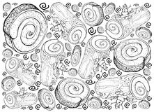 Hand Drawn of Christmas Cake or Yule Log Cake Background. Background Illustration Hand Drawn Sketch of A Traditional Christmas Cake, Yule Log Cake or Buche de Stock Photo