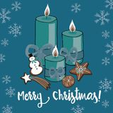 Vector illustration of Christmas candles with cookies on blue background with snowflakes. Merry Christmas. Hand drawn Christmas candles with gingerbread cookies stock illustration
