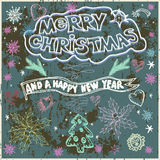 Hand Drawn Christmas Card  on Chalkboard - Illustration. Chalk l Stock Image