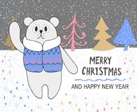 Hand drawn christmas card with cute bear in jacket and colorful trees Royalty Free Stock Photo