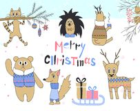 Hand drawn christmas card with cute cat, hedgehog, deer, squirrel, bear in a jacket, sledges with gifts and other items Royalty Free Stock Photography