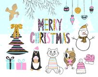 Hand drawn christmas card with cute penguin, cat, owl, snowman, bird, tree, presents and other items. Stock Photo