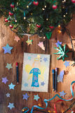 Hand drawn Christmas card and decorations Royalty Free Stock Images